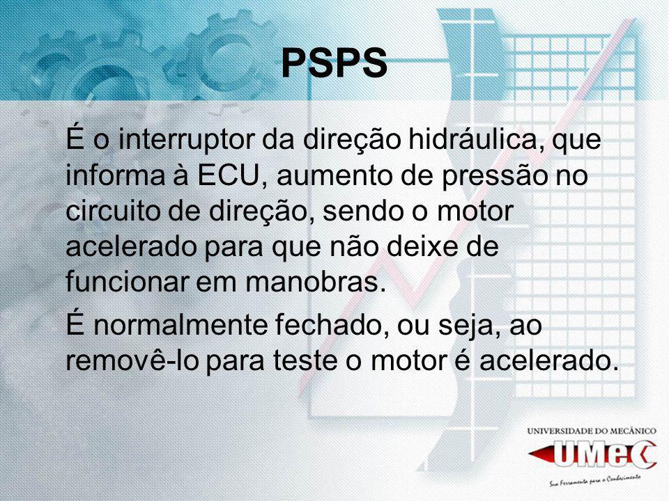 PSPS É o interruptor da direção hidráulica, que informa à ECU, aumento de pressão no circuito de direção, sendo o motor acelerado para que não deixe d