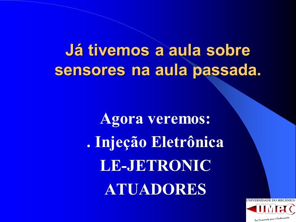 Já tivemos a aula sobre sensores na aula passada. Agora veremos:. Injeção Eletrônica LE-JETRONIC ATUADORES