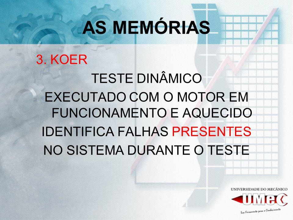 AS MEMÓRIAS 3. KOER TESTE DINÂMICO EXECUTADO COM O MOTOR EM FUNCIONAMENTO E AQUECIDO IDENTIFICA FALHAS PRESENTES NO SISTEMA DURANTE O TESTE