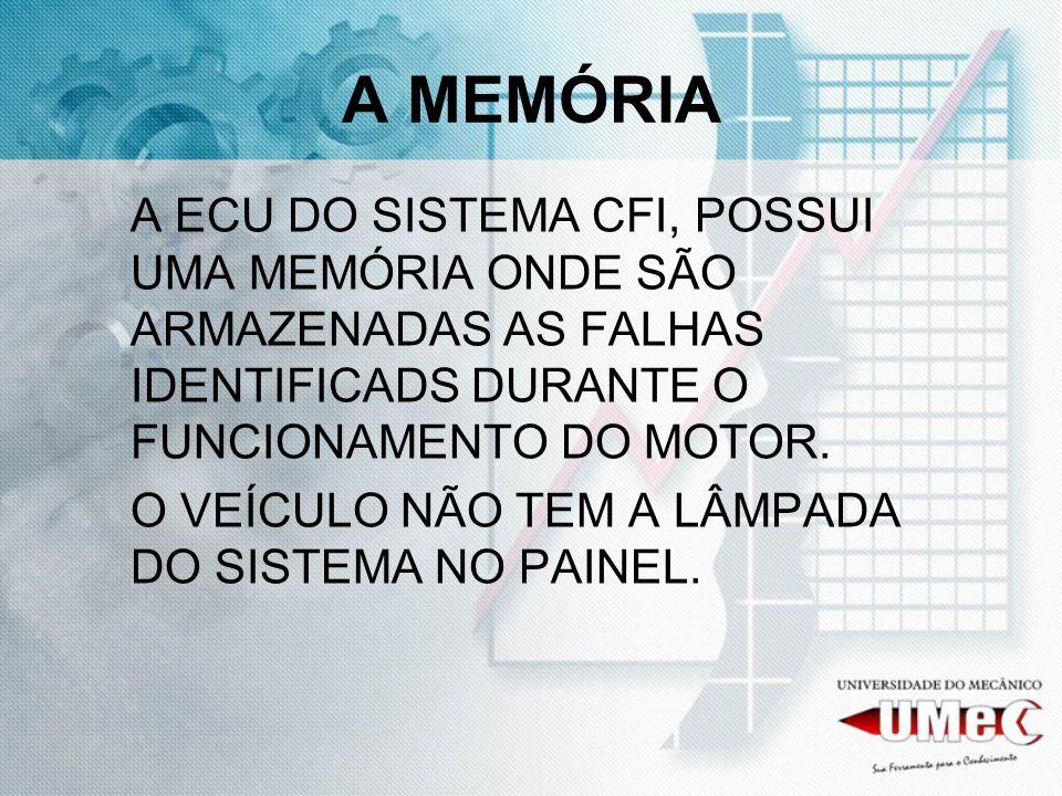 A MEMÓRIA A ECU DO SISTEMA CFI, POSSUI UMA MEMÓRIA ONDE SÃO ARMAZENADAS AS FALHAS IDENTIFICADS DURANTE O FUNCIONAMENTO DO MOTOR. O VEÍCULO NÃO TEM A L