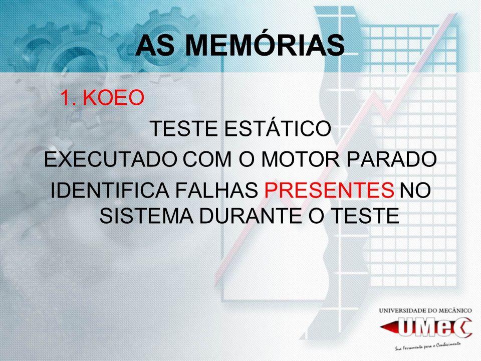 AS MEMÓRIAS 1. KOEO TESTE ESTÁTICO EXECUTADO COM O MOTOR PARADO IDENTIFICA FALHAS PRESENTES NO SISTEMA DURANTE O TESTE