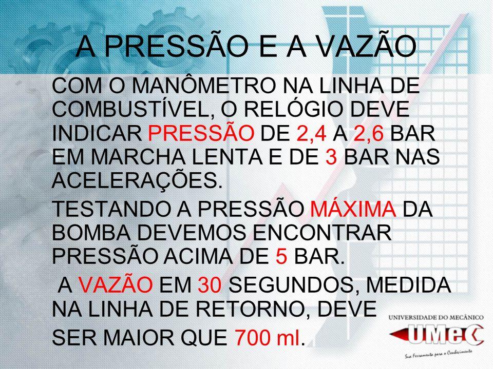 A PRESSÃO E A VAZÃO COM O MANÔMETRO NA LINHA DE COMBUSTÍVEL, O RELÓGIO DEVE INDICAR PRESSÃO DE 2,4 A 2,6 BAR EM MARCHA LENTA E DE 3 BAR NAS ACELERAÇÕE