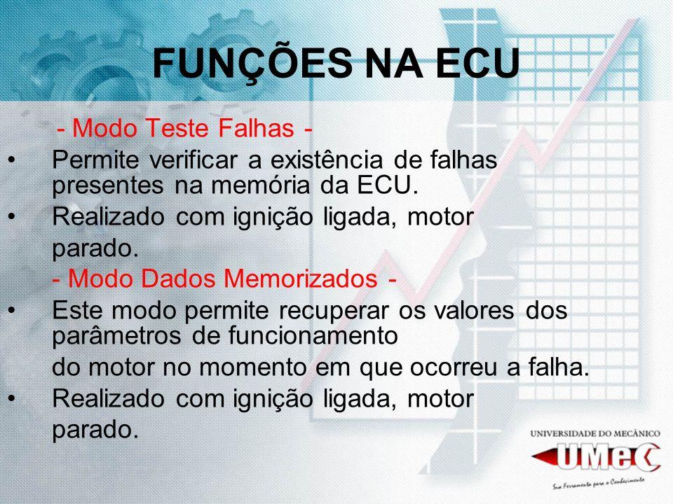 FUNÇÕES NA ECU - Modo Teste Falhas - Permite verificar a existência de falhas presentes na memória da ECU. Realizado com ignição ligada, motor parado.