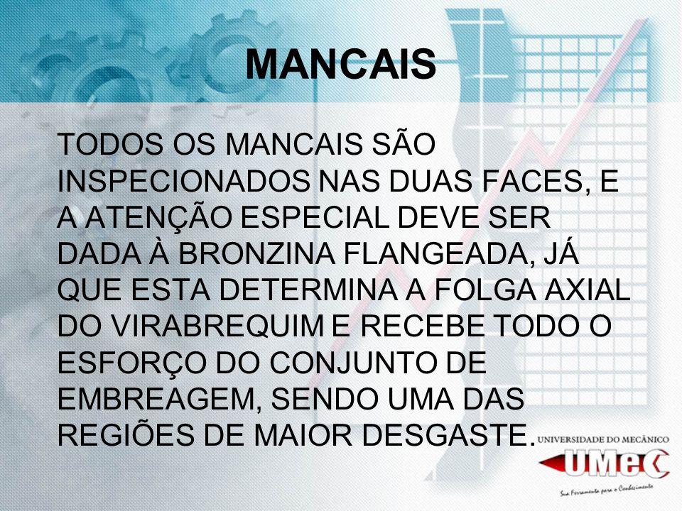MANCAIS TODOS OS MANCAIS SÃO INSPECIONADOS NAS DUAS FACES, E A ATENÇÃO ESPECIAL DEVE SER DADA À BRONZINA FLANGEADA, JÁ QUE ESTA DETERMINA A FOLGA AXIA