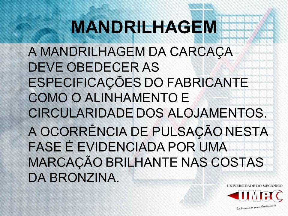 MANDRILHAGEM A MANDRILHAGEM DA CARCAÇA DEVE OBEDECER AS ESPECIFICAÇÕES DO FABRICANTE COMO O ALINHAMENTO E CIRCULARIDADE DOS ALOJAMENTOS. A OCORRÊNCIA