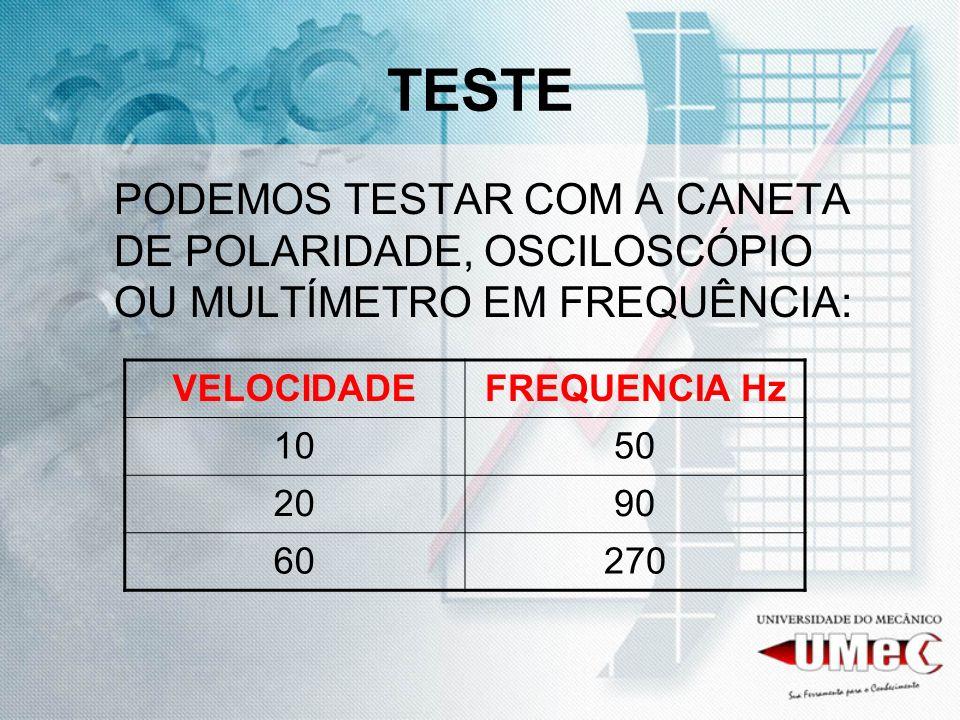 TESTE PODEMOS TESTAR COM A CANETA DE POLARIDADE, OSCILOSCÓPIO OU MULTÍMETRO EM FREQUÊNCIA: VELOCIDADEFREQUENCIA Hz 1050 2090 60270