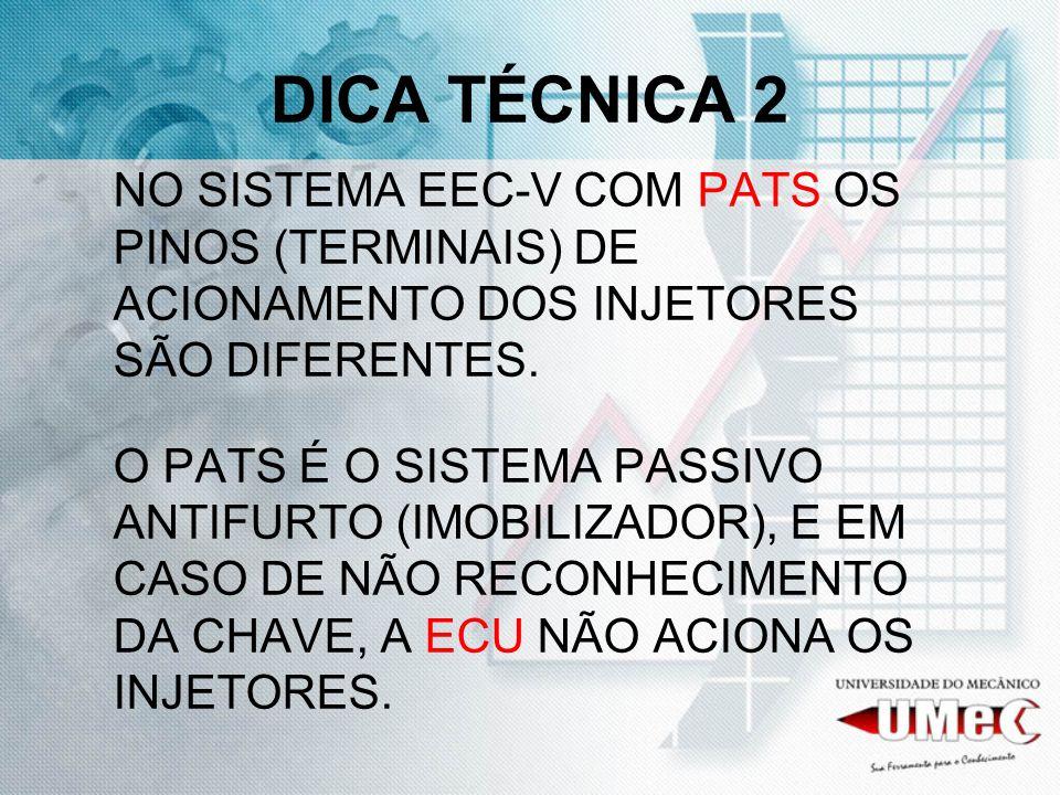 DICA TÉCNICA 2 NO SISTEMA EEC-V COM PATS OS PINOS (TERMINAIS) DE ACIONAMENTO DOS INJETORES SÃO DIFERENTES. O PATS É O SISTEMA PASSIVO ANTIFURTO (IMOBI