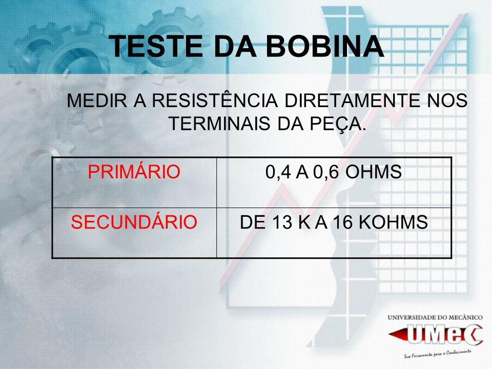 TESTE DA BOBINA MEDIR A RESISTÊNCIA DIRETAMENTE NOS TERMINAIS DA PEÇA. PRIMÁRIO0,4 A 0,6 OHMS SECUNDÁRIODE 13 K A 16 KOHMS