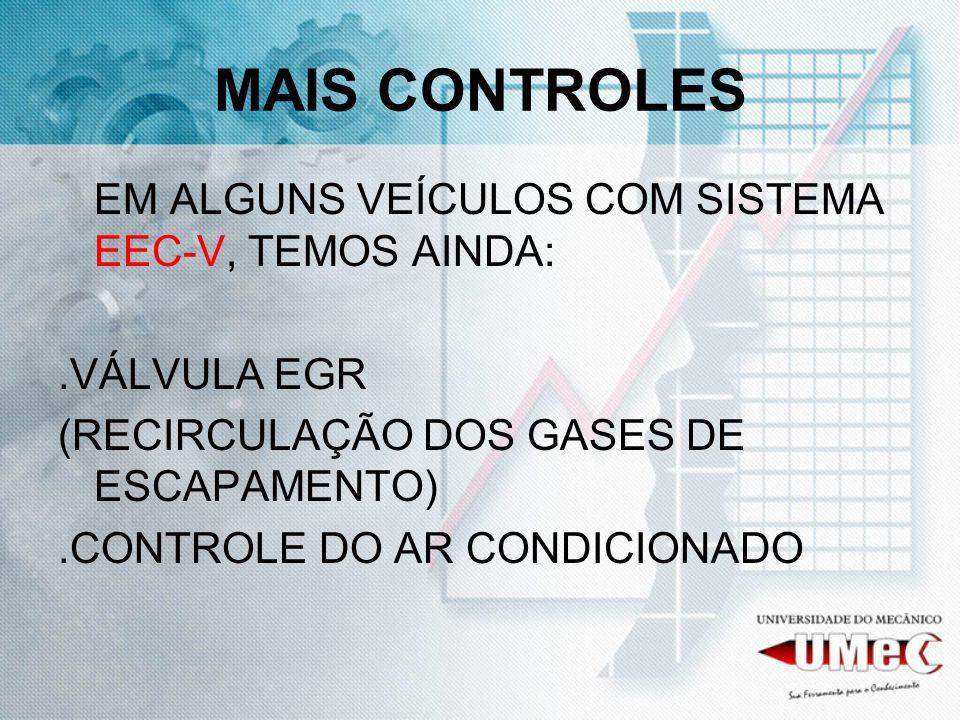 MAIS CONTROLES EM ALGUNS VEÍCULOS COM SISTEMA EEC-V, TEMOS AINDA:.VÁLVULA EGR (RECIRCULAÇÃO DOS GASES DE ESCAPAMENTO).CONTROLE DO AR CONDICIONADO