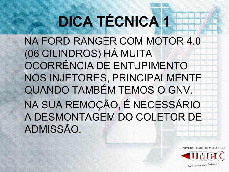 DICA TÉCNICA 1 NA FORD RANGER COM MOTOR 4.0 (06 CILINDROS) HÁ MUITA OCORRÊNCIA DE ENTUPIMENTO NOS INJETORES, PRINCIPALMENTE QUANDO TAMBÉM TEMOS O GNV.