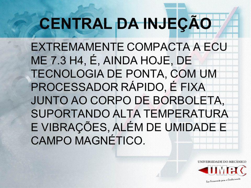CENTRAL DA INJEÇÃO EXTREMAMENTE COMPACTA A ECU ME 7.3 H4, É, AINDA HOJE, DE TECNOLOGIA DE PONTA, COM UM PROCESSADOR RÁPIDO, É FIXA JUNTO AO CORPO DE BORBOLETA, SUPORTANDO ALTA TEMPERATURA E VIBRAÇÕES, ALÉM DE UMIDADE E CAMPO MAGNÉTICO.