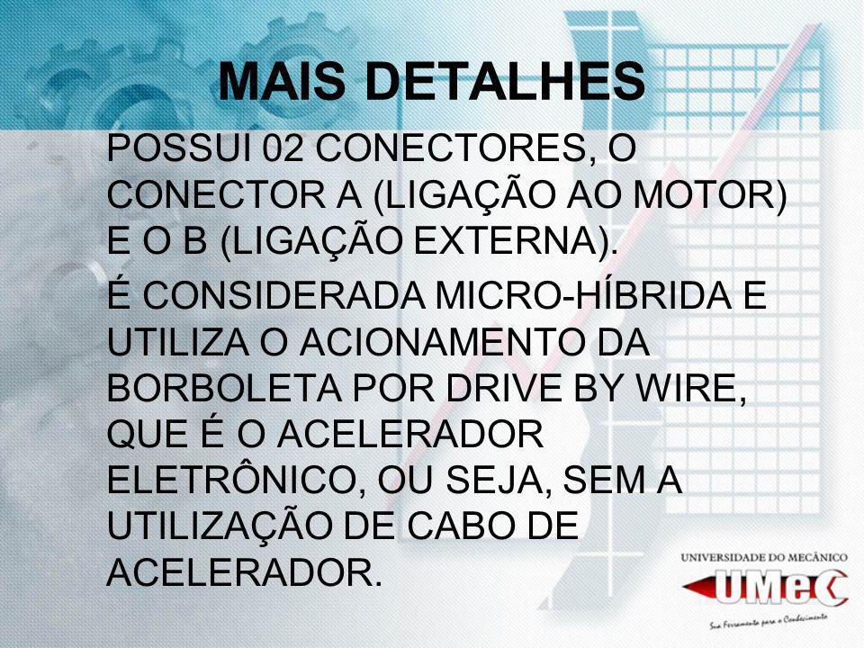 MAIS DETALHES POSSUI 02 CONECTORES, O CONECTOR A (LIGAÇÃO AO MOTOR) E O B (LIGAÇÃO EXTERNA).