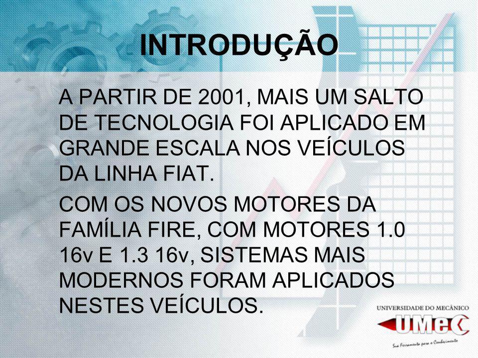 INTRODUÇÃO A PARTIR DE 2001, MAIS UM SALTO DE TECNOLOGIA FOI APLICADO EM GRANDE ESCALA NOS VEÍCULOS DA LINHA FIAT.