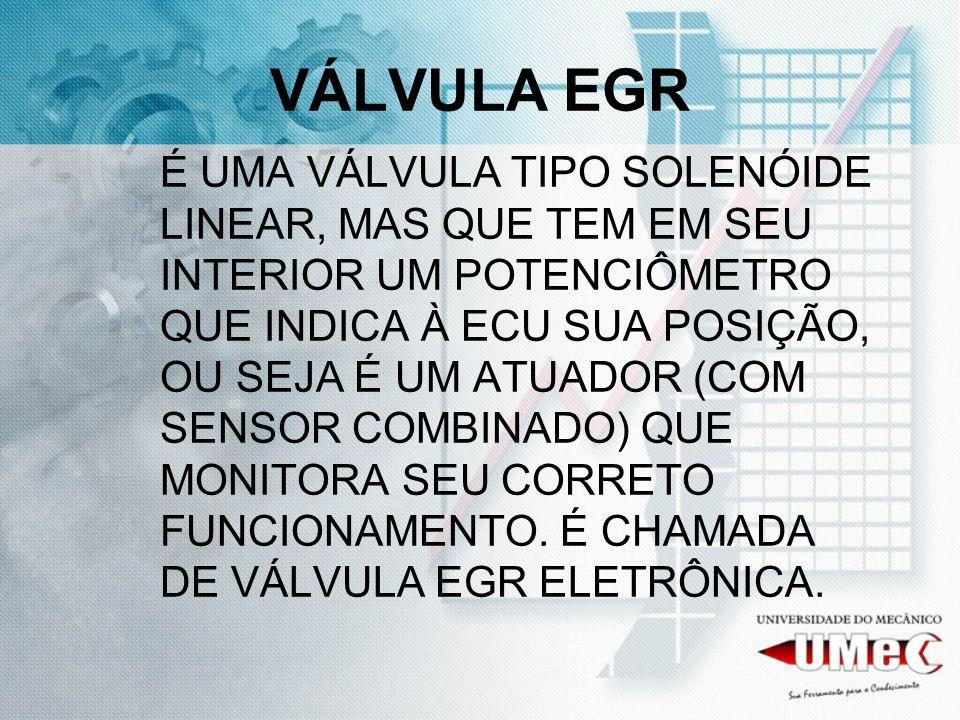 VÁLVULA EGR EGR SIGNIFICA: RECIRCULAÇÃO DOS GASES DE ESCAPAMENTO E SEU FUNCIONAMENTO CONSISTE EM DIMINUIR A TEMPERATURA DA CÂMARA DE COMBUSTÃO PARA DIMINUIÇÃO DA EMISSÃO DE NOx (ÓXIDO DE NITROGÊNIO).