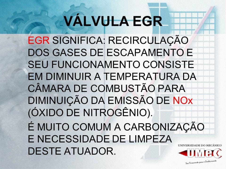 VÁLVULA EGR TESTES: TENSÃO 12 VOLTS CHAVE LIGADA PINO E RESISTÊNCIA ENTRE A e E = 7 A 12 OHMS B e C = 1 A 2 OHMS