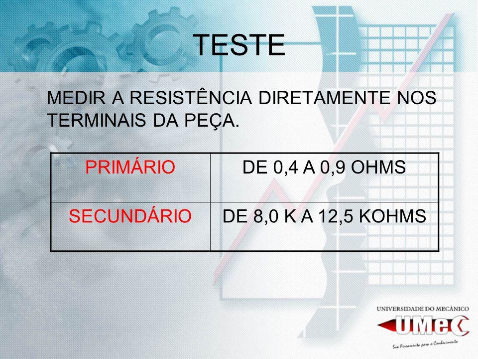 TESTE MEDIR A RESISTÊNCIA DIRETAMENTE NOS TERMINAIS DA PEÇA. PRIMÁRIODE 0,4 A 0,9 OHMS SECUNDÁRIODE 8,0 K A 12,5 KOHMS