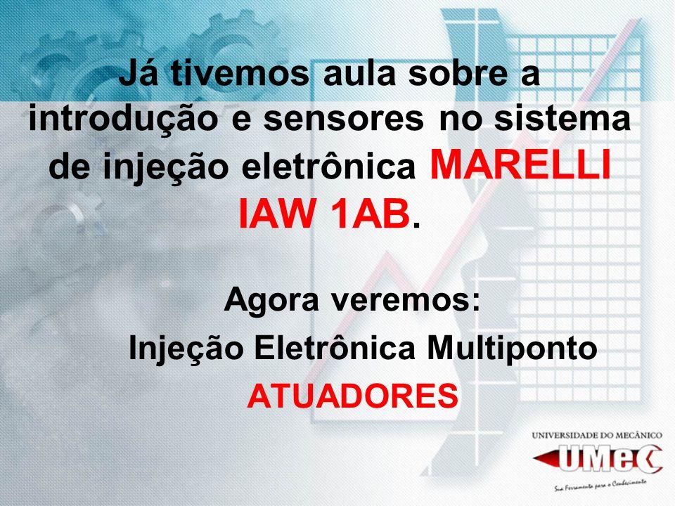 Já tivemos aula sobre a introdução e sensores no sistema de injeção eletrônica MARELLI IAW 1AB. Agora veremos: Injeção Eletrônica Multiponto ATUADORES