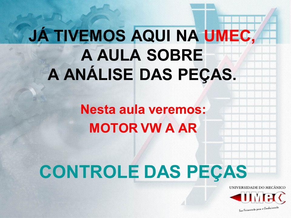 CONTROLE O SETOR DE ANÁLISE DAS PEÇAS ESTÁ APÓS A LAVAGEM, DESMONTAGEM E ANÁLISE.