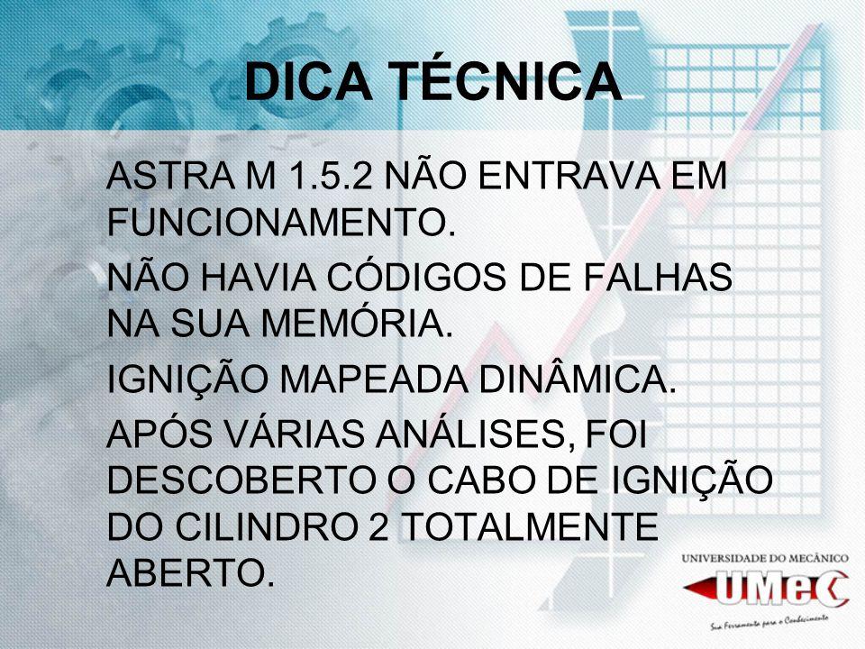 DICA TÉCNICA ASTRA M 1.5.2 NÃO ENTRAVA EM FUNCIONAMENTO. NÃO HAVIA CÓDIGOS DE FALHAS NA SUA MEMÓRIA. IGNIÇÃO MAPEADA DINÂMICA. APÓS VÁRIAS ANÁLISES, F