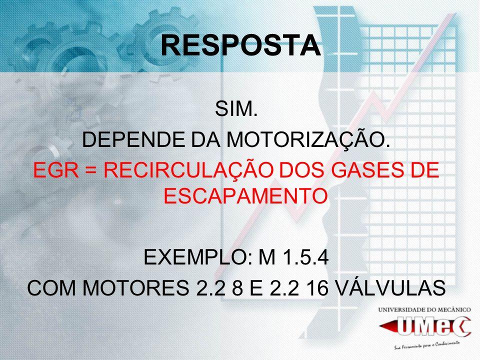 RESPOSTA SIM. DEPENDE DA MOTORIZAÇÃO. EGR = RECIRCULAÇÃO DOS GASES DE ESCAPAMENTO EXEMPLO: M 1.5.4 COM MOTORES 2.2 8 E 2.2 16 VÁLVULAS