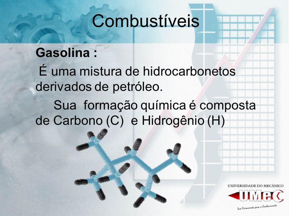 Combustíveis Gasolina : É uma mistura de hidrocarbonetos derivados de petróleo. Sua formação química é composta de Carbono (C) e Hidrogênio (H)