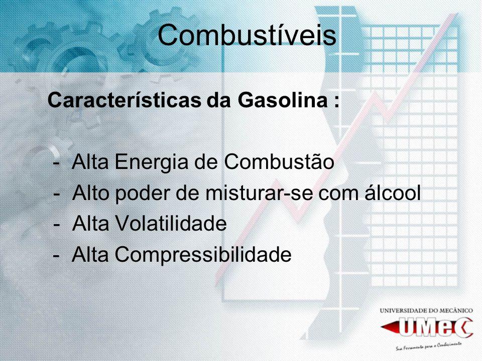 Características da Gasolina : - Alta Energia de Combustão - Alto poder de misturar-se com álcool - Alta Volatilidade - Alta Compressibilidade Combustí