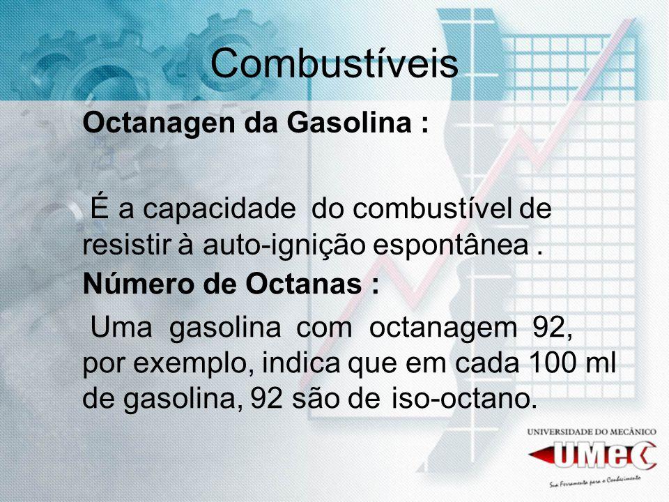 Octanagen da Gasolina : É a capacidade do combustível de resistir à auto-ignição espontânea. Combustíveis Número de Octanas : Uma gasolina com octanag