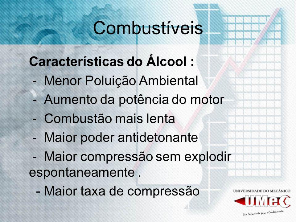 Combustíveis Características do Álcool : - Menor Poluição Ambiental - Aumento da potência do motor - Combustão mais lenta - Maior poder antidetonante
