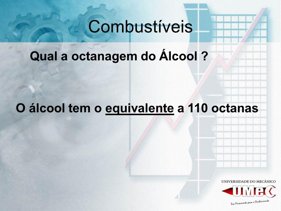 Combustíveis Qual a octanagem do Álcool ? O álcool tem o equivalente a 110 octanas