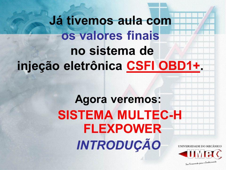 Já tivemos aula com os valores finais no sistema de injeção eletrônica CSFI OBD1+. Agora veremos: SISTEMA MULTEC-H FLEXPOWER INTRODUÇÃO
