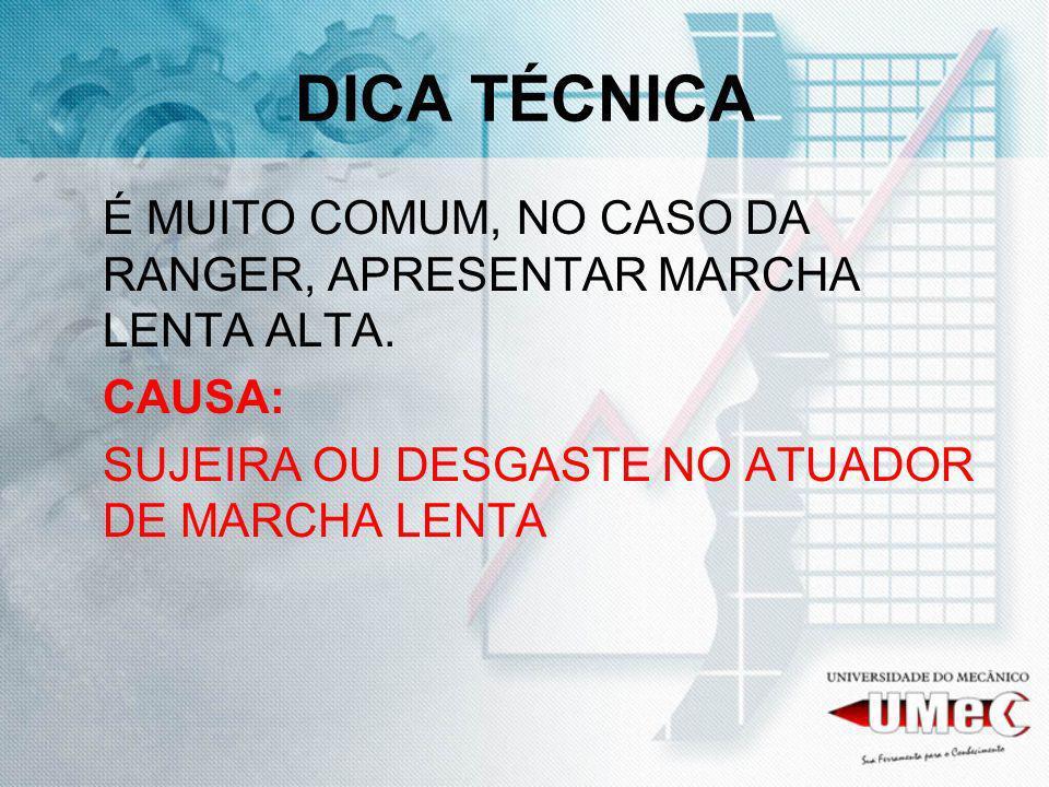 DICA TÉCNICA É MUITO COMUM, NO CASO DA RANGER, APRESENTAR MARCHA LENTA ALTA. CAUSA: SUJEIRA OU DESGASTE NO ATUADOR DE MARCHA LENTA