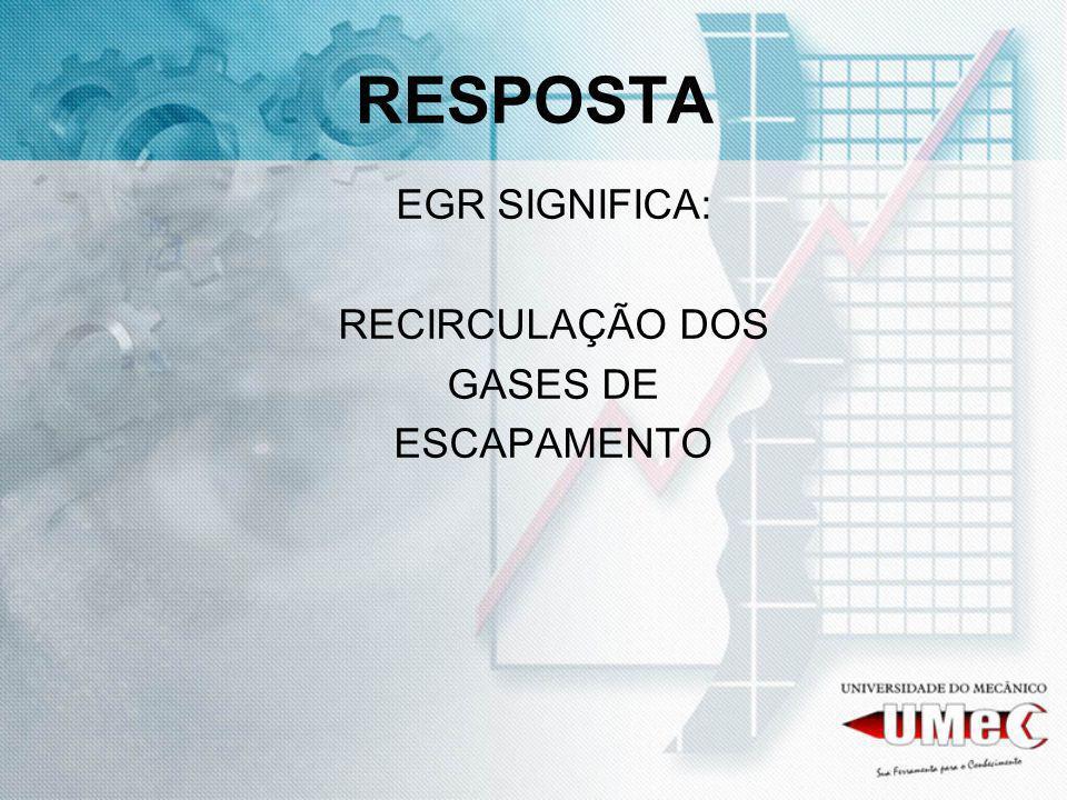 RESPOSTA EGR SIGNIFICA: RECIRCULAÇÃO DOS GASES DE ESCAPAMENTO