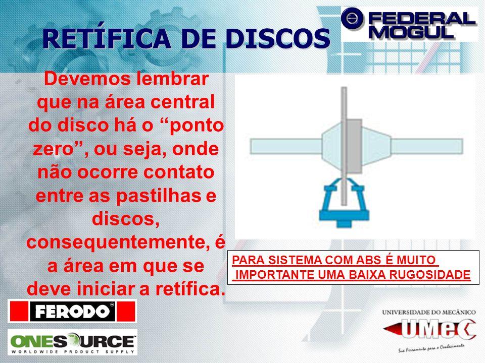 RETÍFICA DE DISCOS Devemos lembrar que na área central do disco há o ponto zero, ou seja, onde não ocorre contato entre as pastilhas e discos, consequ
