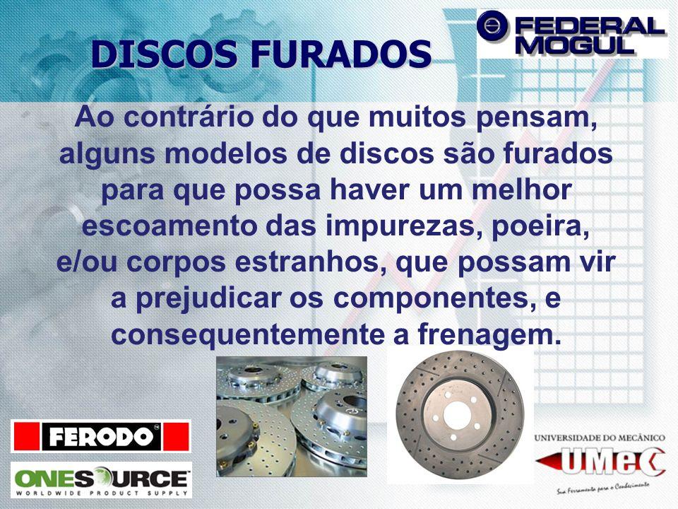 DISCOS FURADOS Ao contrário do que muitos pensam, alguns modelos de discos são furados para que possa haver um melhor escoamento das impurezas, poeira