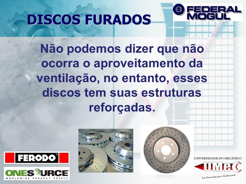 DISCOS FURADOS Não podemos dizer que não ocorra o aproveitamento da ventilação, no entanto, esses discos tem suas estruturas reforçadas.
