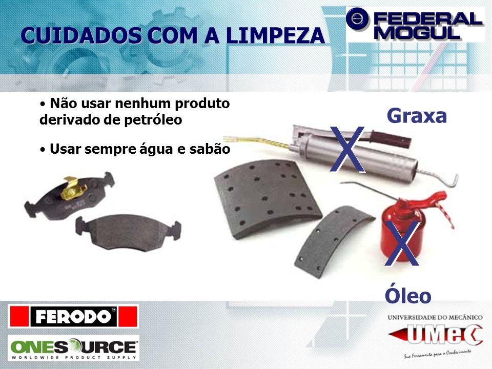CUIDADOS COM A LIMPEZA Graxa X X Óleo X X Não usar nenhum produto derivado de petróleo Usar sempre água e sabão