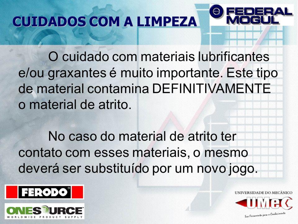 CUIDADOS COM A LIMPEZA O cuidado com materiais lubrificantes e/ou graxantes é muito importante. Este tipo de material contamina DEFINITIVAMENTE o mate