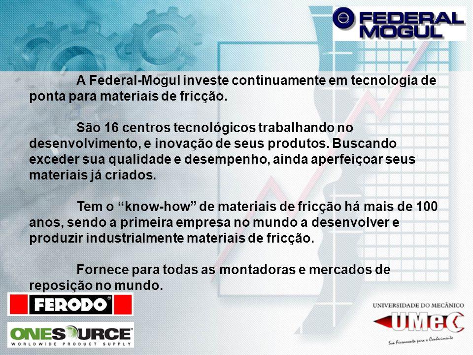 A Federal-Mogul investe continuamente em tecnologia de ponta para materiais de fricção. São 16 centros tecnológicos trabalhando no desenvolvimento, e