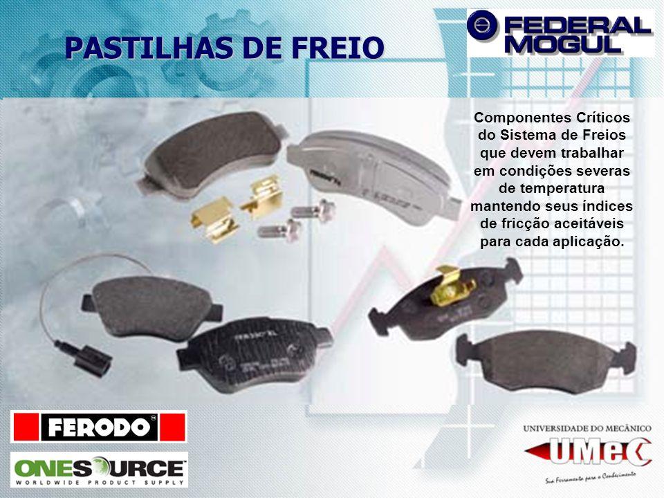 PASTILHAS DE FREIO Componentes Críticos do Sistema de Freios que devem trabalhar em condições severas de temperatura mantendo seus índices de fricção