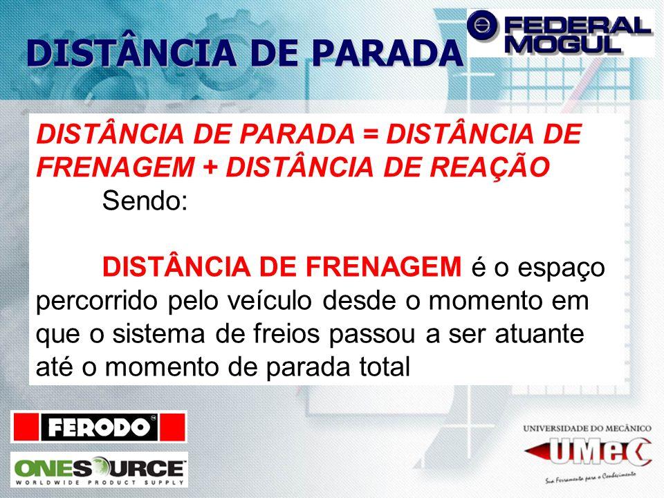 DISTÂNCIA DE PARADA DISTÂNCIA DE PARADA = DISTÂNCIA DE FRENAGEM + DISTÂNCIA DE REAÇÃO Sendo: DISTÂNCIA DE FRENAGEM é o espaço percorrido pelo veículo