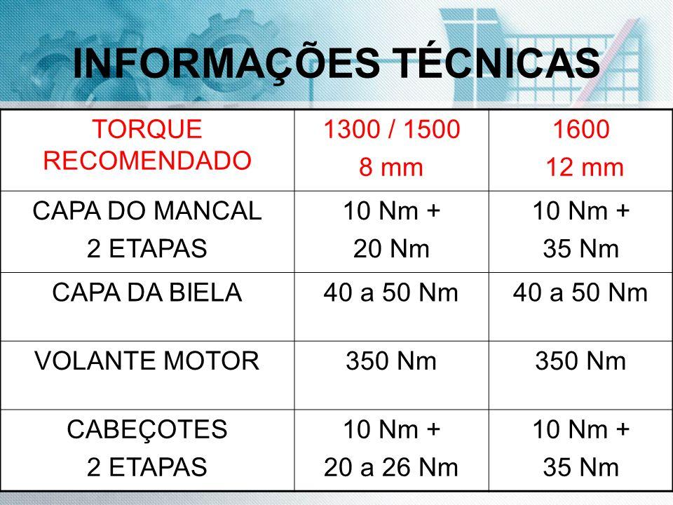 INFORMAÇÕES TÉCNICAS TORQUE RECOMENDADO 1300 / 1500 8 mm 1600 12 mm CAPA DO MANCAL 2 ETAPAS 10 Nm + 20 Nm 10 Nm + 35 Nm CAPA DA BIELA40 a 50 Nm VOLANT