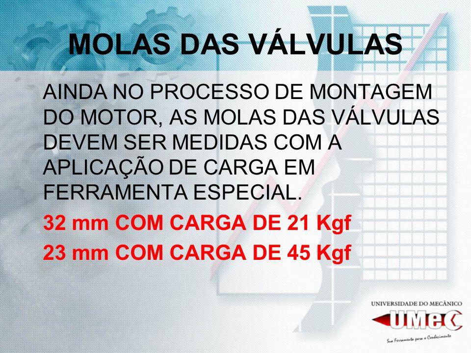 AINDA NO PROCESSO DE MONTAGEM DO MOTOR, AS MOLAS DAS VÁLVULAS DEVEM SER MEDIDAS COM A APLICAÇÃO DE CARGA EM FERRAMENTA ESPECIAL. 32 mm COM CARGA DE 21