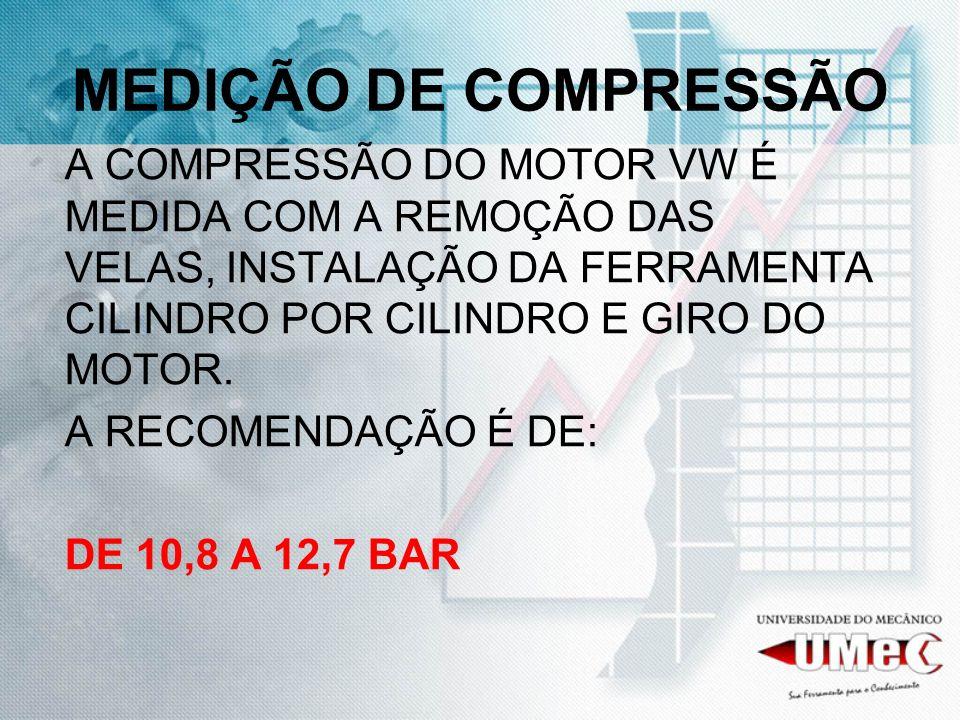 MEDIÇÃO DE COMPRESSÃO A COMPRESSÃO DO MOTOR VW É MEDIDA COM A REMOÇÃO DAS VELAS, INSTALAÇÃO DA FERRAMENTA CILINDRO POR CILINDRO E GIRO DO MOTOR. A REC