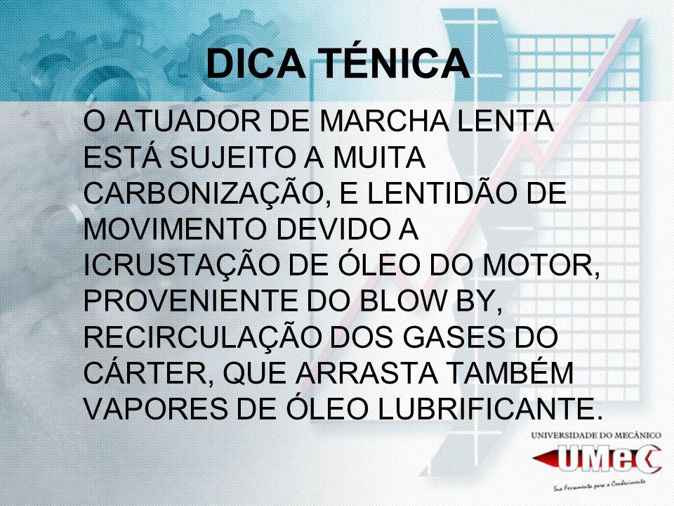 DICA TÉNICA O ATUADOR DE MARCHA LENTA ESTÁ SUJEITO A MUITA CARBONIZAÇÃO, E LENTIDÃO DE MOVIMENTO DEVIDO A ICRUSTAÇÃO DE ÓLEO DO MOTOR, PROVENIENTE DO