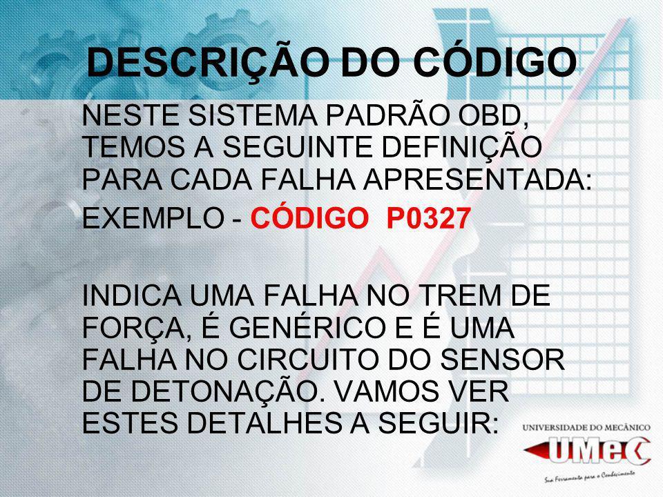 DESCRIÇÃO DO CÓDIGO NESTE SISTEMA PADRÃO OBD, TEMOS A SEGUINTE DEFINIÇÃO PARA CADA FALHA APRESENTADA: EXEMPLO - CÓDIGO P0327 INDICA UMA FALHA NO TREM