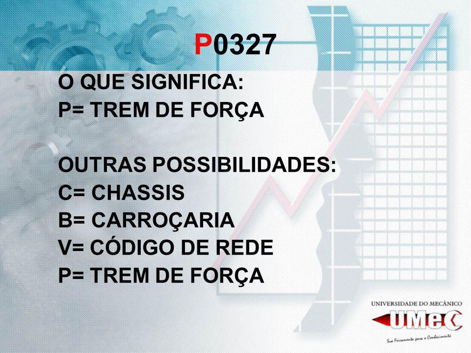 P0327 O QUE SIGNIFICA: P= TREM DE FORÇA OUTRAS POSSIBILIDADES: C= CHASSIS B= CARROÇARIA V= CÓDIGO DE REDE P= TREM DE FORÇA