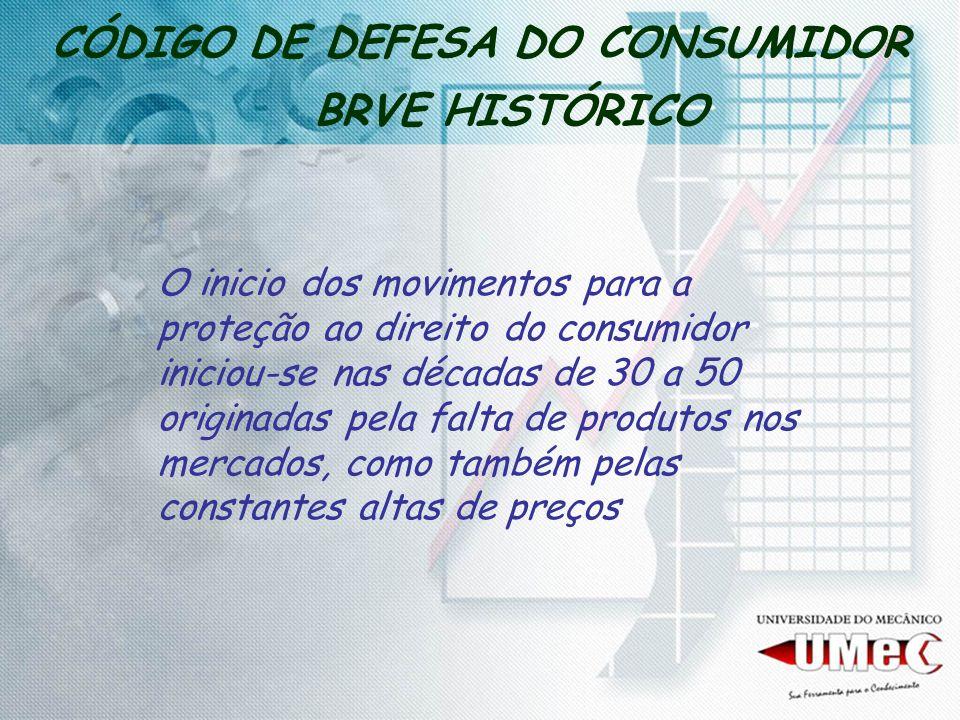 CÓDIGO DE DEFESA DO CONSUMIDOR BRVE HISTÓRICO O inicio dos movimentos para a proteção ao direito do consumidor iniciou-se nas décadas de 30 a 50 origi