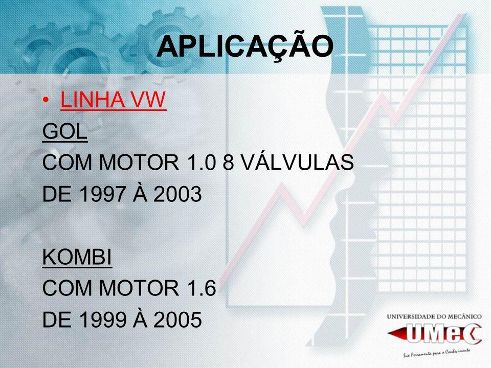 APLICAÇÃO LINHA VW GOL COM MOTOR 1.0 8 VÁLVULAS DE 1997 À 2003 KOMBI COM MOTOR 1.6 DE 1999 À 2005