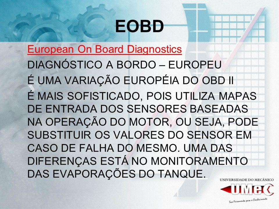 EOBD European On Board Diagnostics DIAGNÓSTICO A BORDO – EUROPEU É UMA VARIAÇÃO EUROPÉIA DO OBD II É MAIS SOFISTICADO, POIS UTILIZA MAPAS DE ENTRADA D