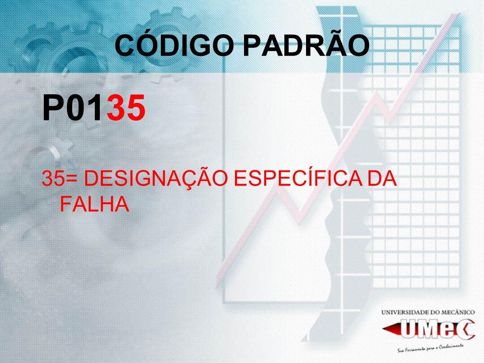 CÓDIGO PADRÃO P0135 35= DESIGNAÇÃO ESPECÍFICA DA FALHA